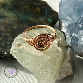Rose & Yellow Gold Copper Wire Wrapped Swirl Ring